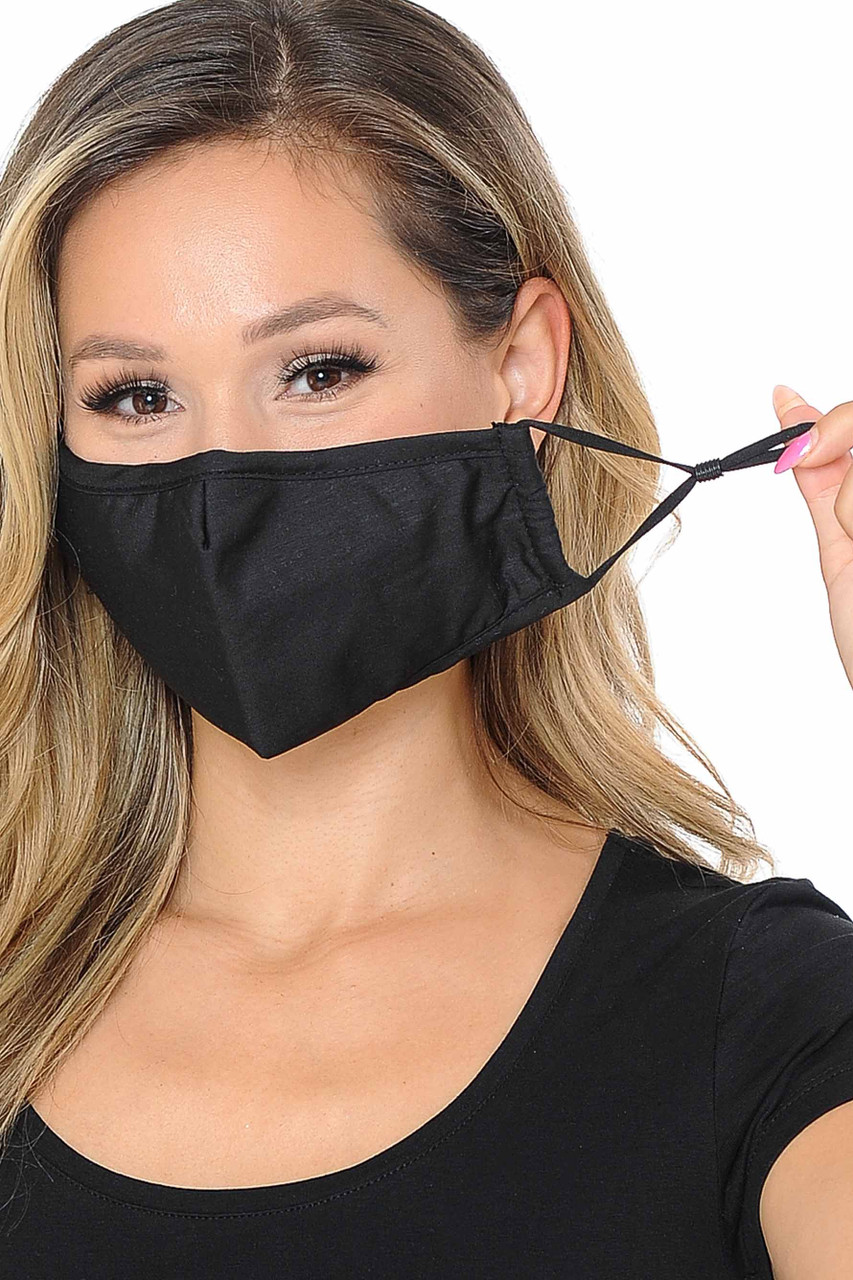 Image of black Wholesale 3 Ply Face Mask with Inner Built in Filter - Nose Closure, showing off adjustable ear string ties.