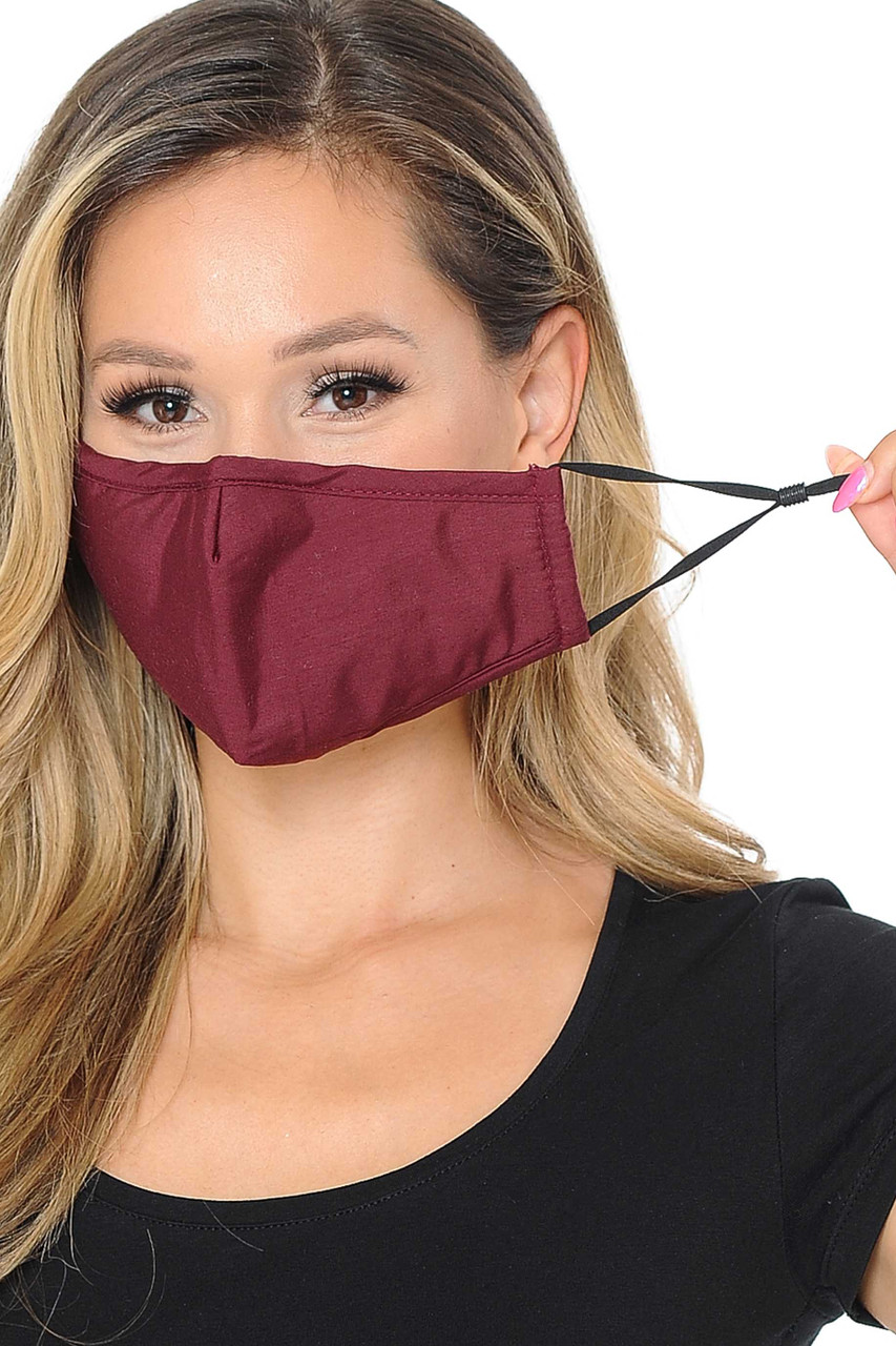 Image of burgundy Wholesale 3 Ply Face Mask with Inner Built in Filter - Nose Closure, showing off adjustable ear string ties.