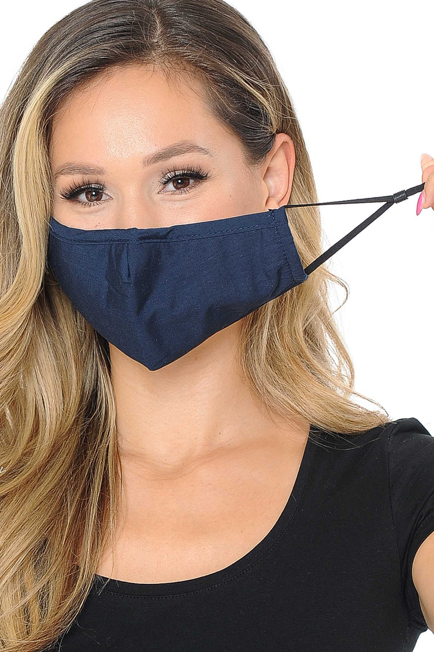 Image of navy Wholesale 3 Ply Face Mask with Inner Built in Filter - Nose Closure, showing off adjustable ear string ties.