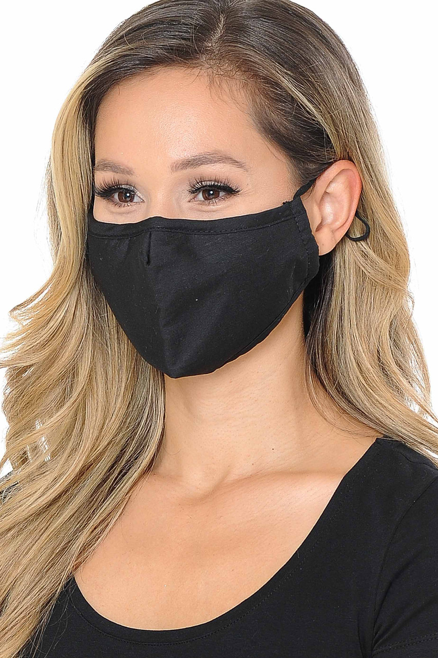 Partial front/right view image of black Wholesale 3 Ply Face Mask with Inner Built in Filter - Nose Closure - Adjustable Ear Ties featuring a subtle sheen.