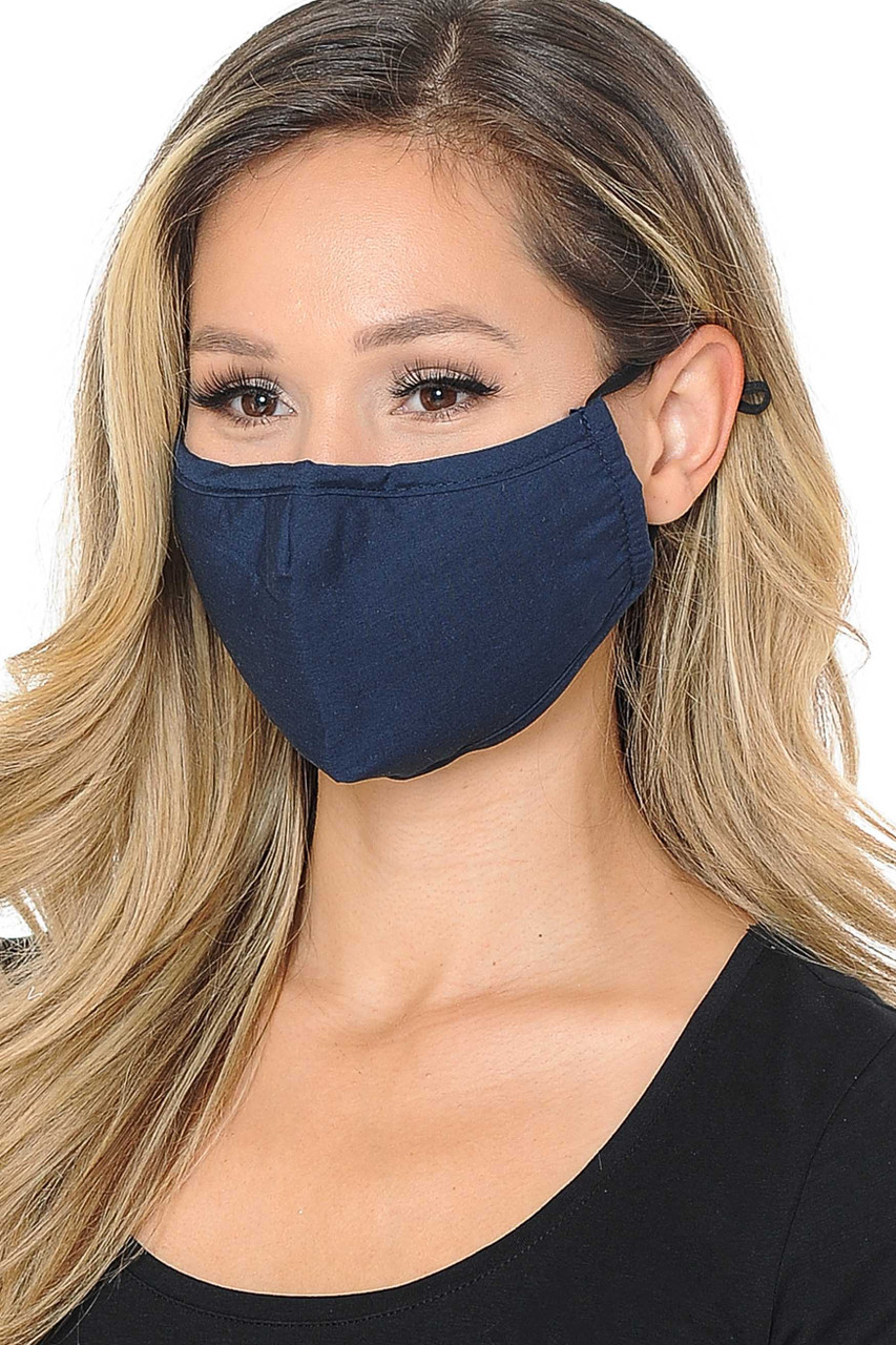 Partial front/right view image of navy Wholesale 3 Ply Face Mask with Inner Built in Filter - Nose Closure - Adjustable Ear Ties featuring a subtle sheen.