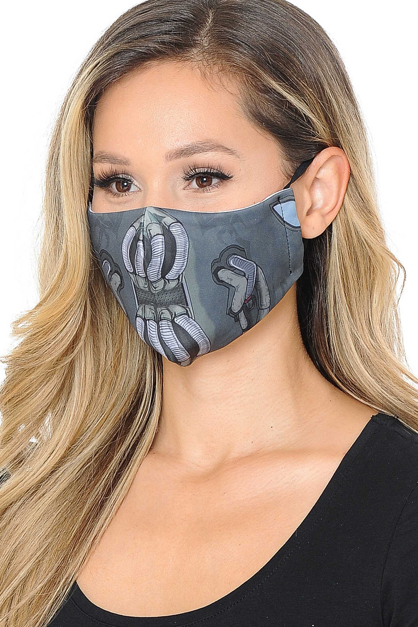 Partial front/right side view image of charcoal toned Bane Graphic Print Face Mask