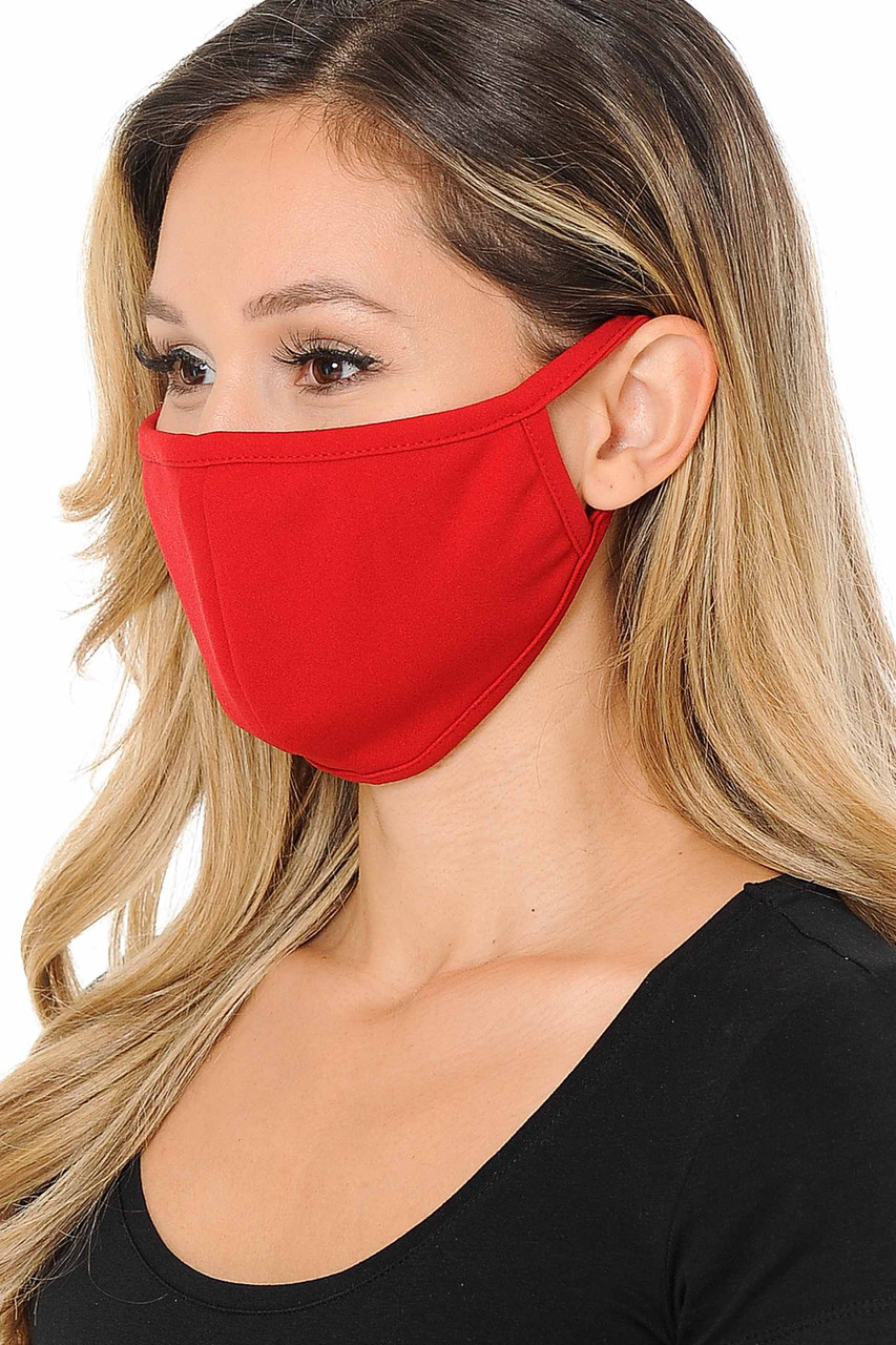 Left side view image of Summer Red Scuba Knit Face Mask - Made in the USA