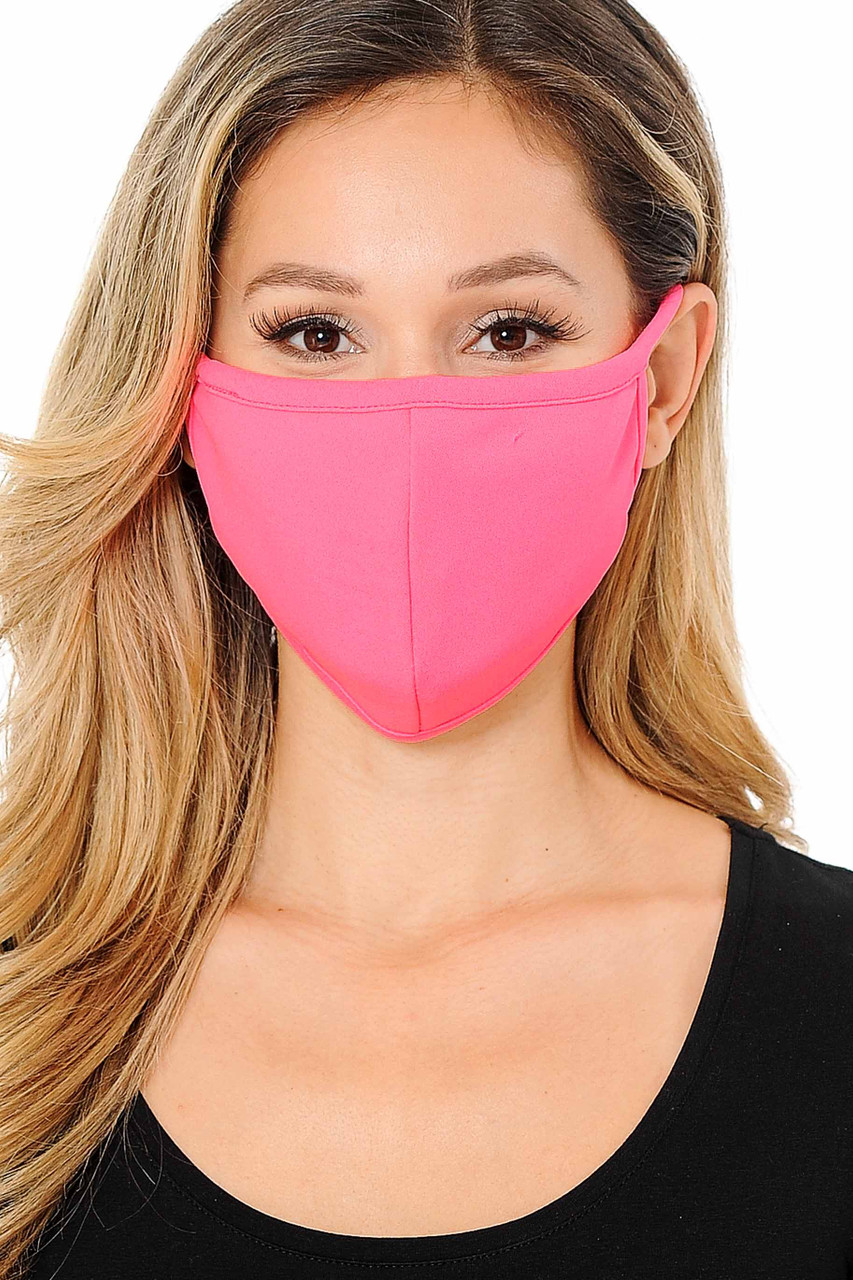 Front view image of Summer Neon Pink Scuba Knit Face Mask - Made in the USA with a solid vibrant look.