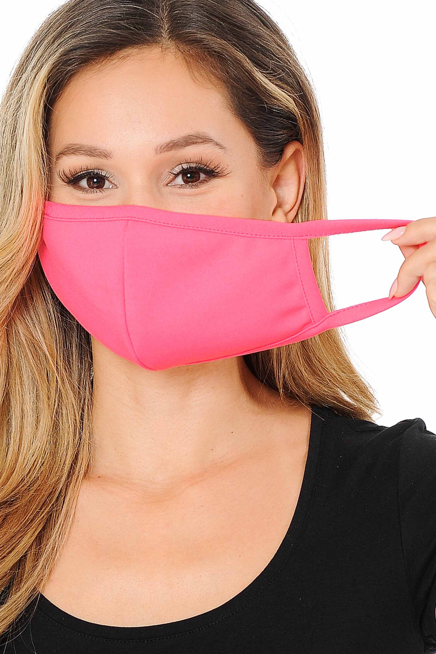 Front view showing elastic earloop fit Summer Neon Pink Scuba Knit Face Mask - Made in the USA