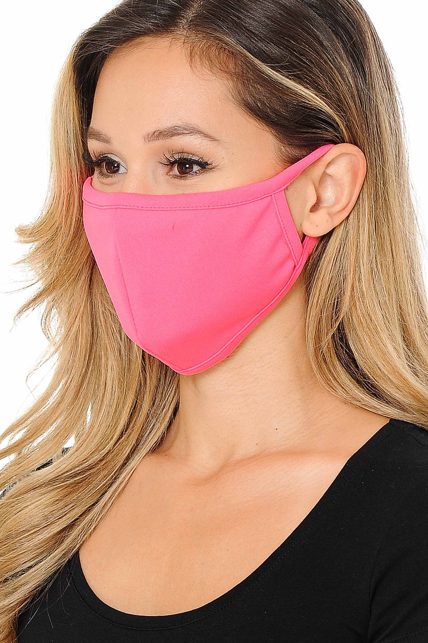 Left side view image of Summer Neon Pink Scuba Knit Face Mask - Made in the USA