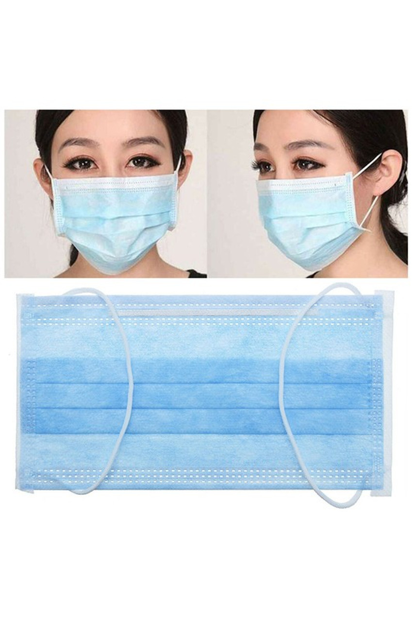 Image showing flat view, front view, and left side view of 25 x 2-Packs (50) - Single Use Disposable Face Masks - Wrapped in Packs of 2