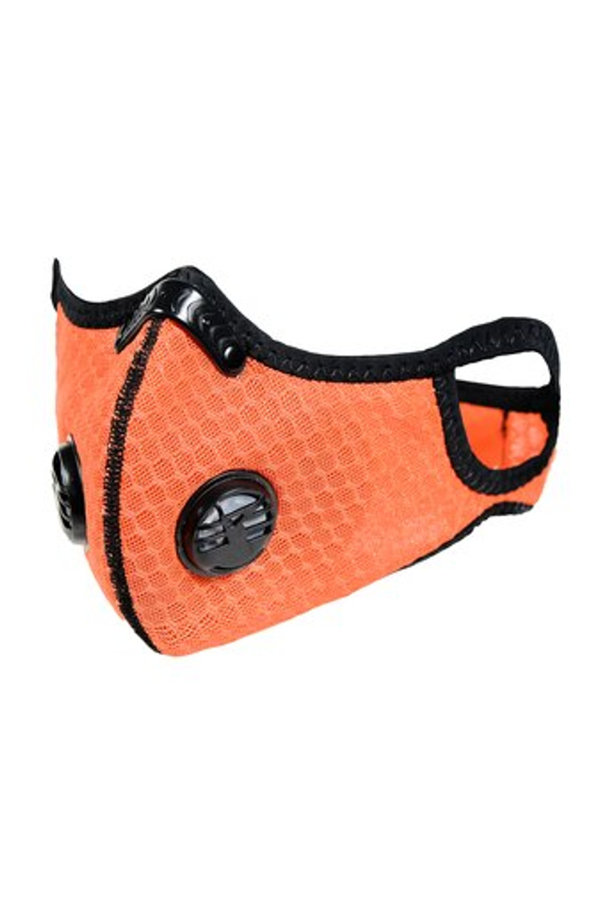 Angled left  front image view of Summer Orange Dual Valve Mesh Sport Face Mask with PM2.5 Filter