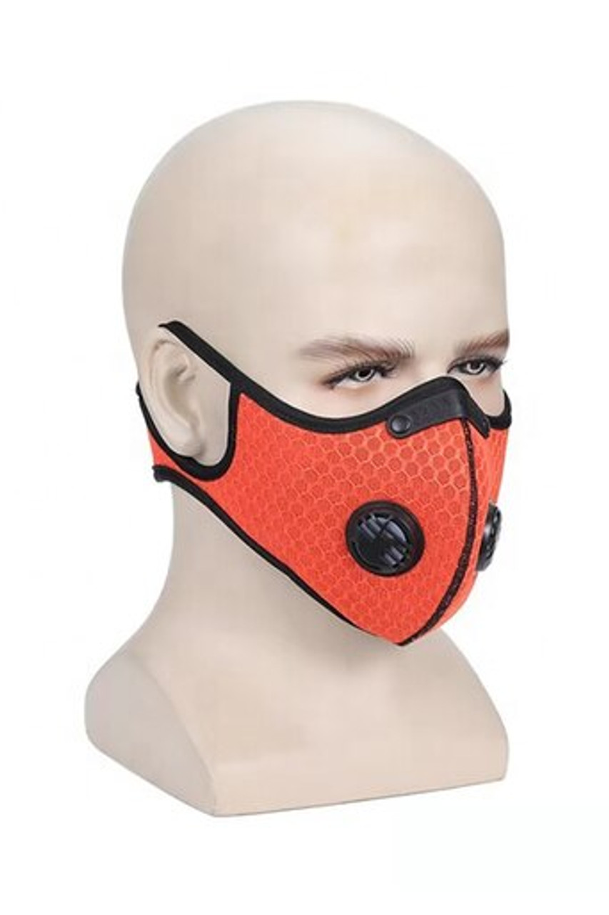 Angled right front mannequin head modeled image view of Summer Orange Dual Valve Mesh Sport Face Mask with PM2.5 Filter