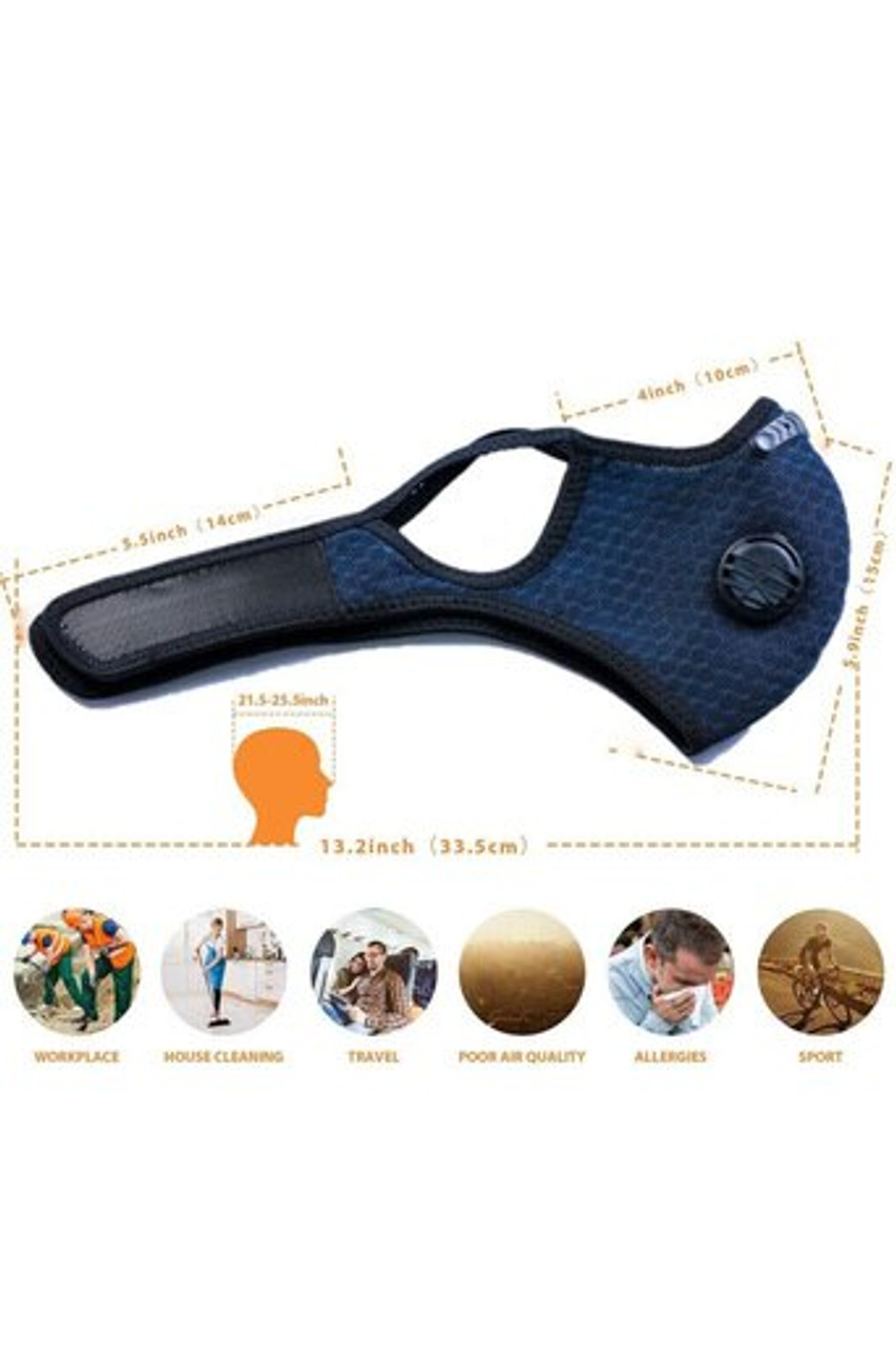 Folded right side image view of Navy Blue Dual Valve Mesh Sport Face Mask with PM2.5 Filter with dimensions.