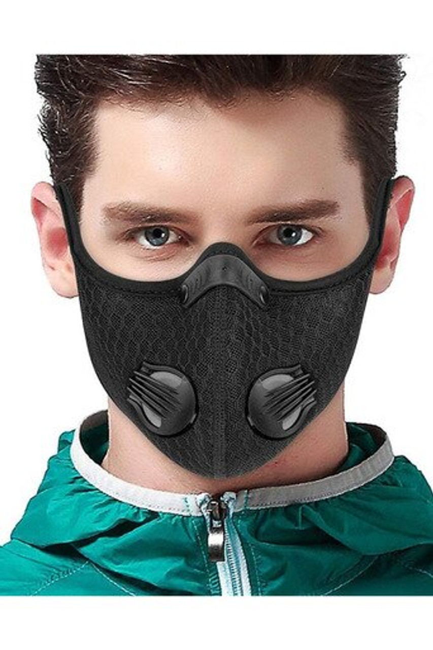 Modeled front facing image view of Black Dual Valve Mesh Sport Face Mask with PM2.5 Filter