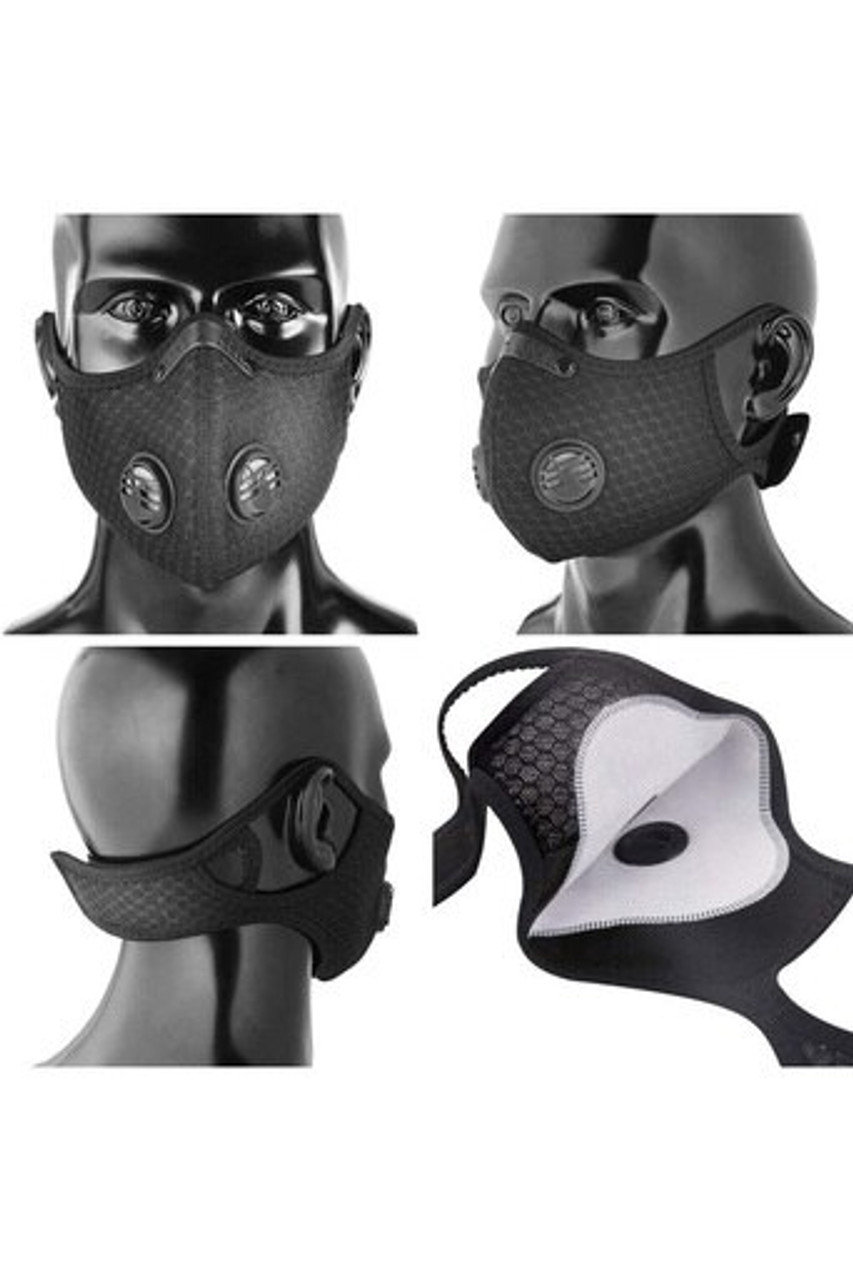 Multi view image of Black Dual Valve Mesh Sport Face Mask with PM2.5 Filter