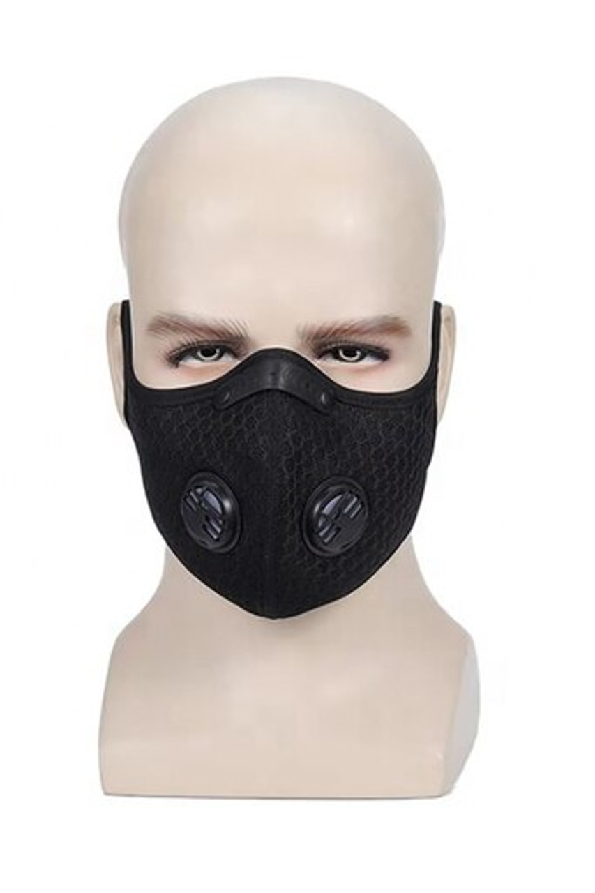 Mannequin modeled front view image of Black Dual Valve Mesh Sport Face Mask with PM2.5 Filter