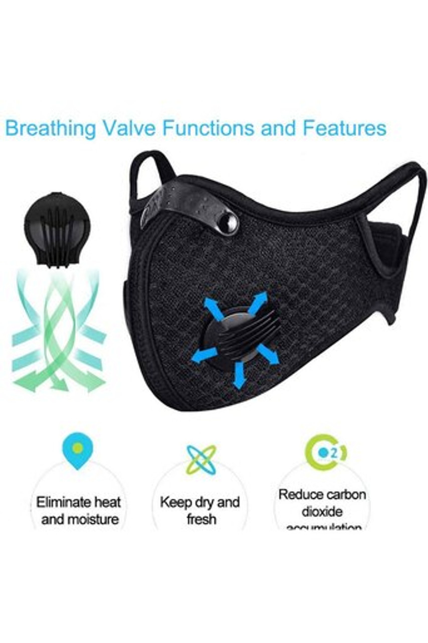 Image of breathing valve function and features for Black Dual Valve Mesh Sport Face Mask with PM2.5 Filter