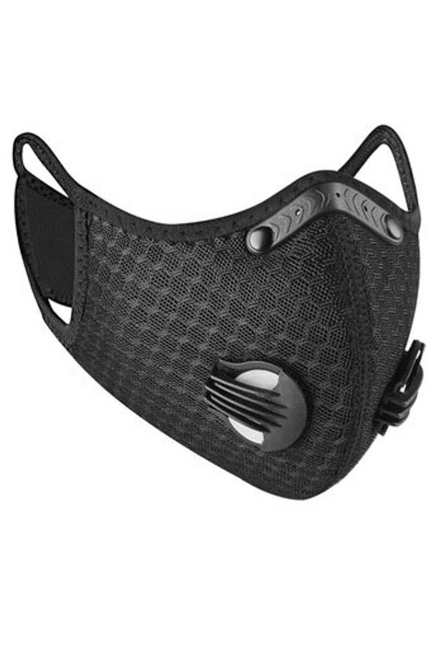 Angled right front image view of Black Dual Valve Mesh Sport Face Mask with PM2.5 Filter