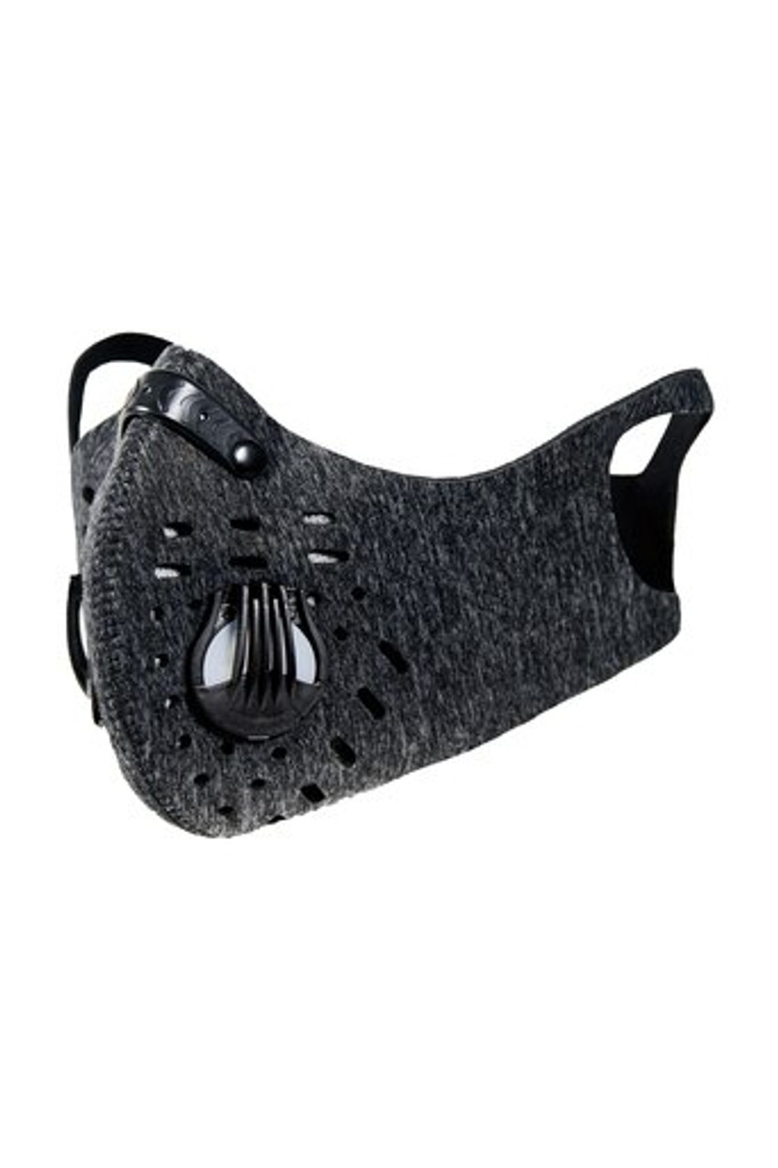 Left front image view of Charcoal Dual Valve Neoprene Sport Face Mask with PM2.5 Filter
