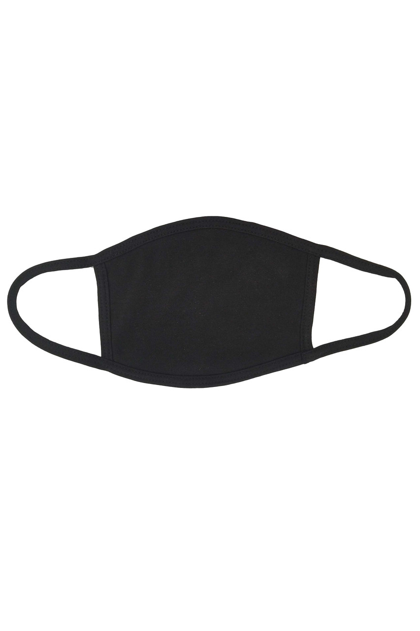 Flat view image of solid black Seamless Cotton Face Mask with PM2.5 Filter Pocket - Made in USA