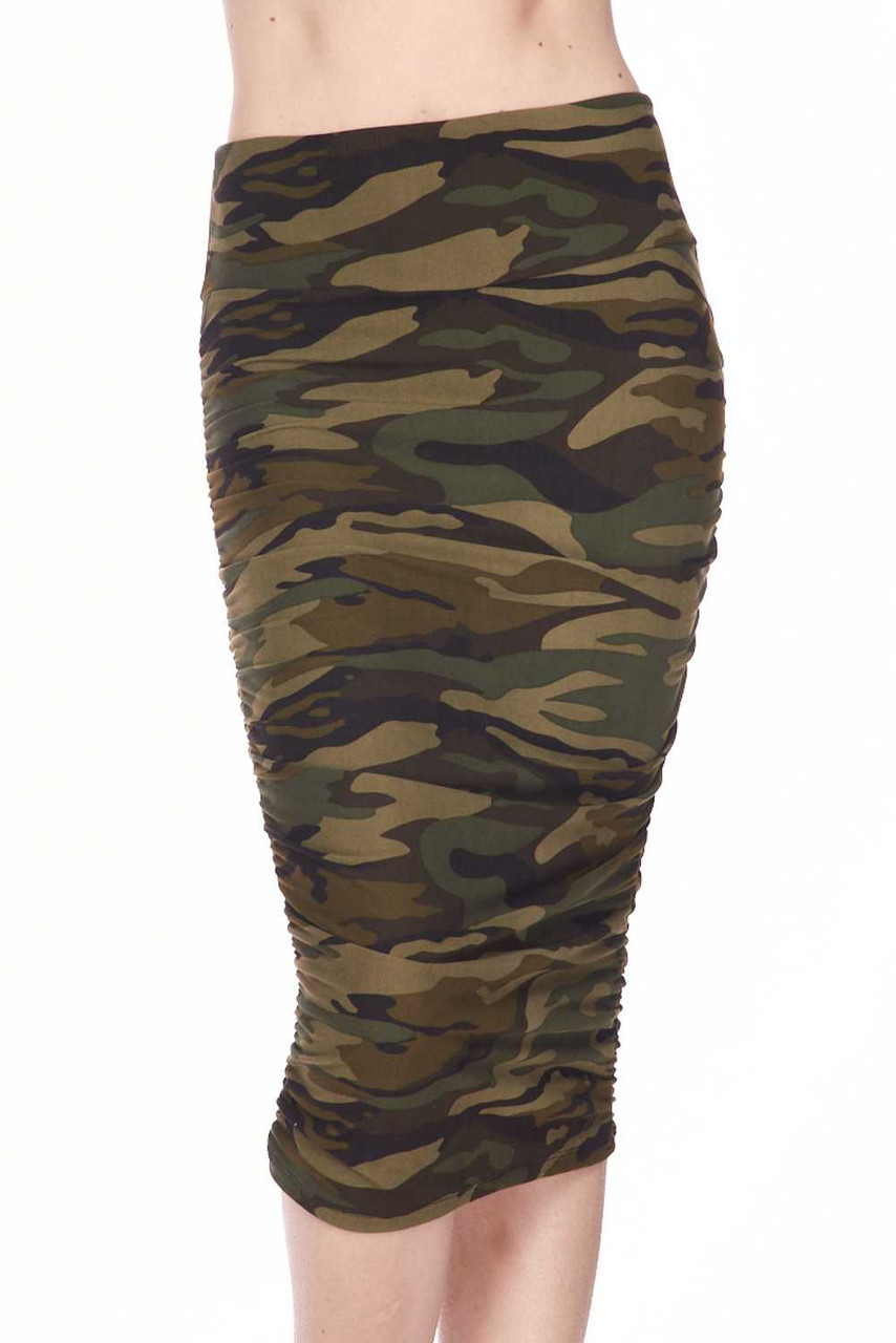 Buttery Soft Green Camouflage Pencil Skirt