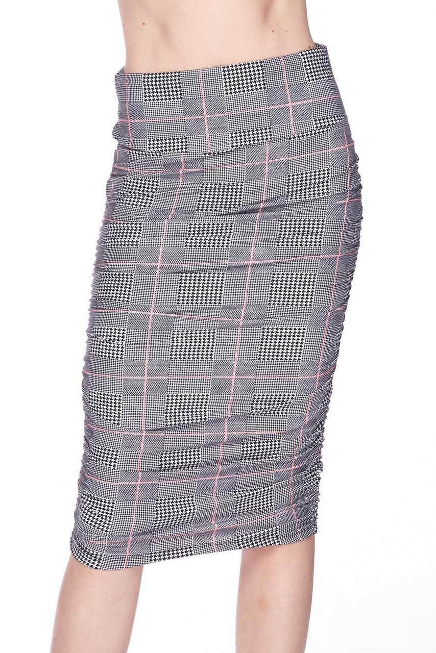 Buttery Soft Coral Accent Glenn Plaid Pencil Skirt