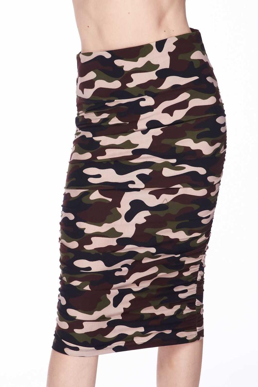 Buttery Soft Flirty Camouflage Pencil Skirt