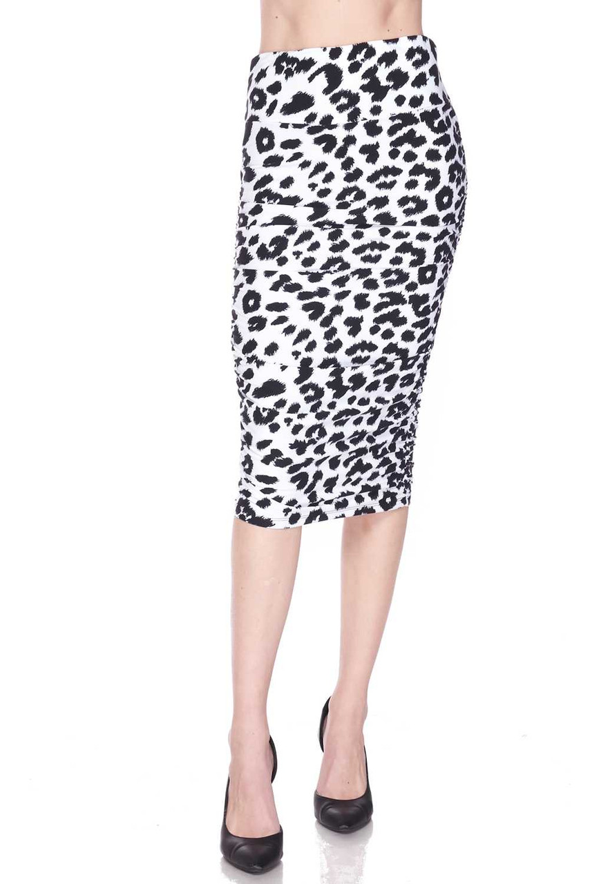 Buttery Soft Ivory Spotted Leopard Pencil Skirt