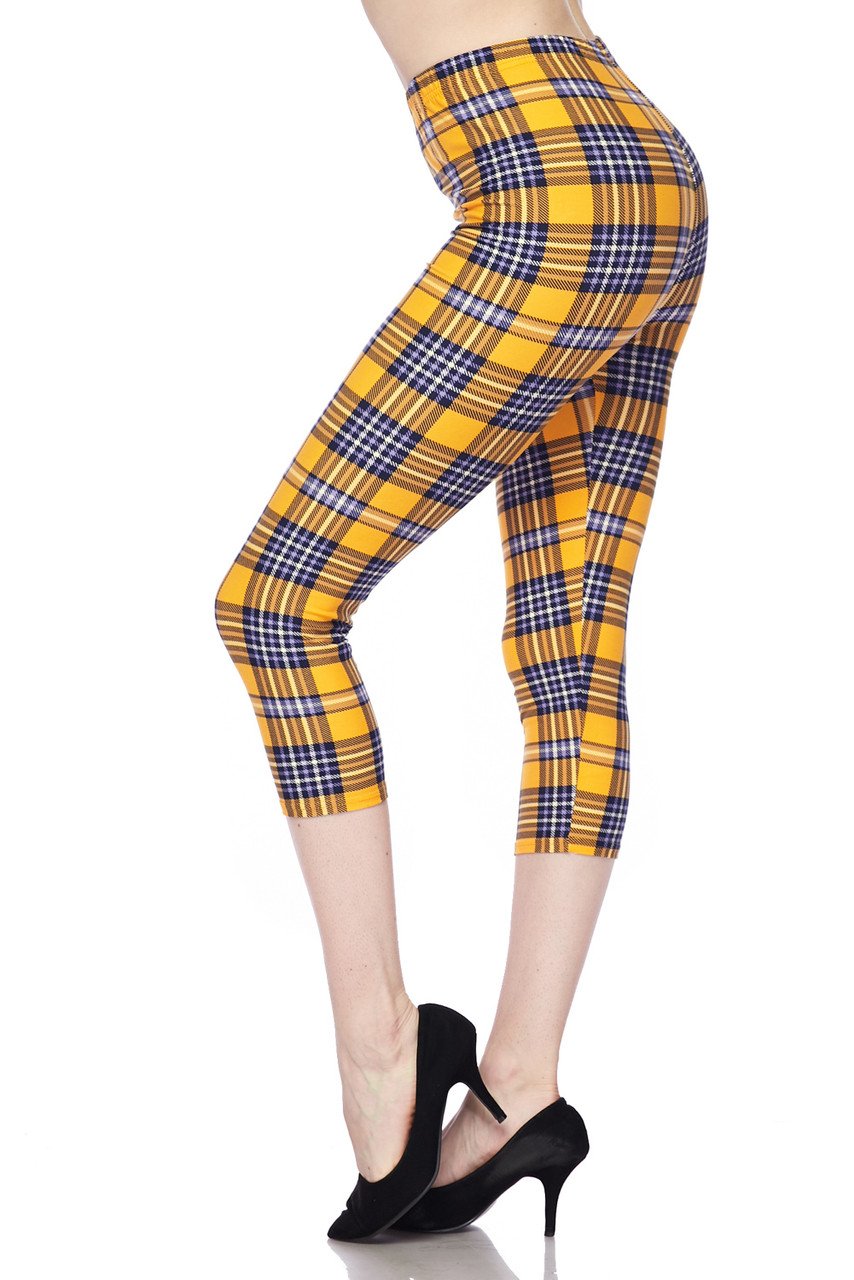 Left side view of Buttery Soft Sunshine Plaid Plus Size Capris