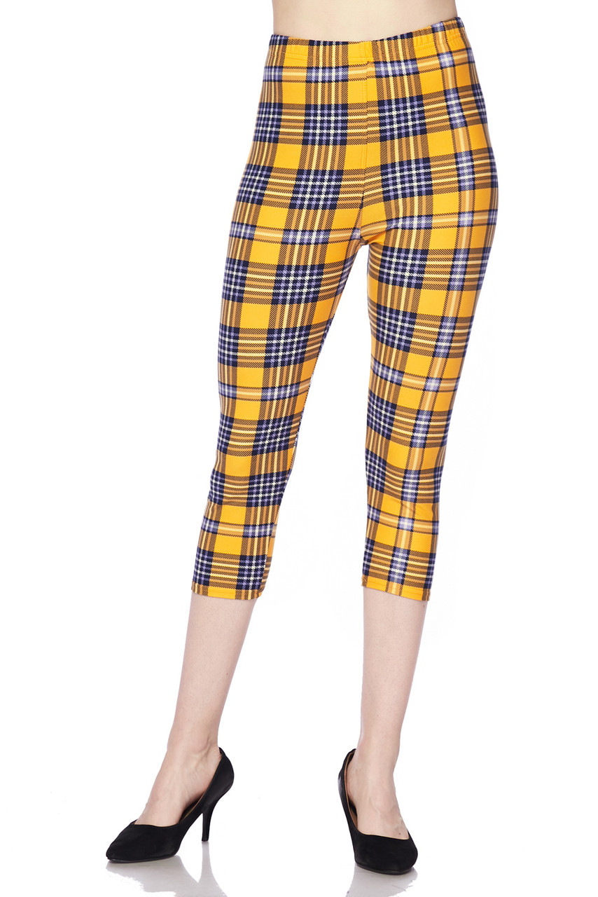 Front view of our mid rise Buttery Soft Sunshine Plaid Plus Size Capris