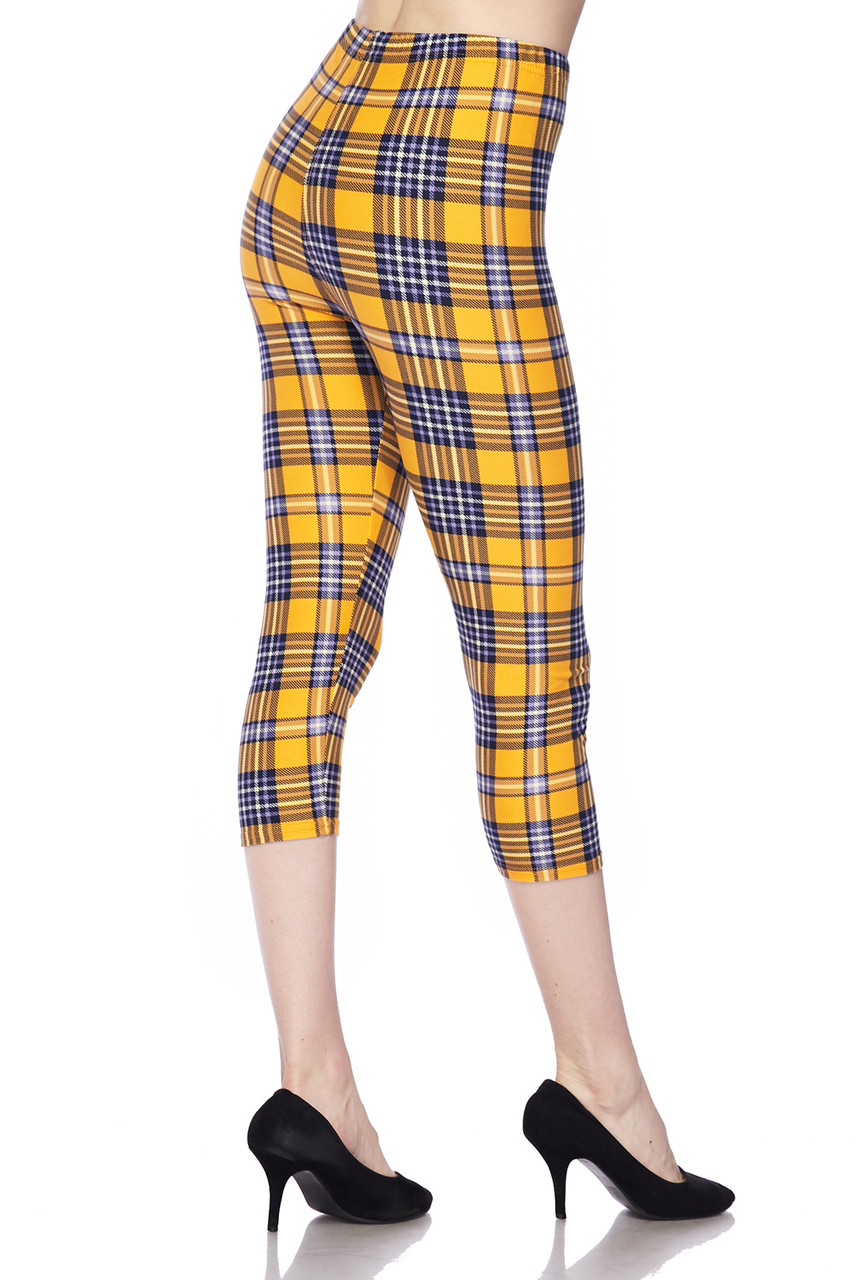 Right side/partial back view of Buttery Soft Sunshine Plaid Plus Size Capris