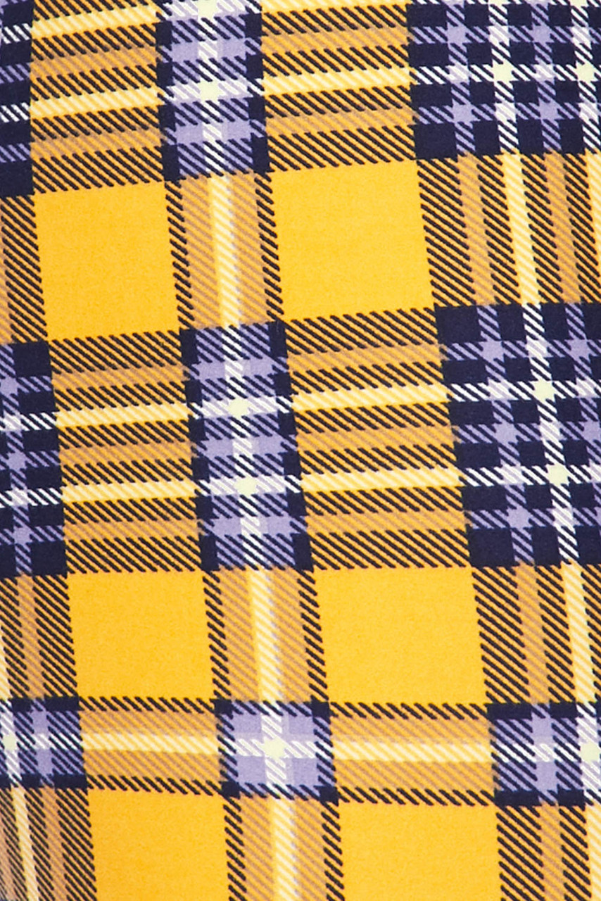Close up fabric swatch image of Buttery Soft Sunshine Plaid Plus Size Capris