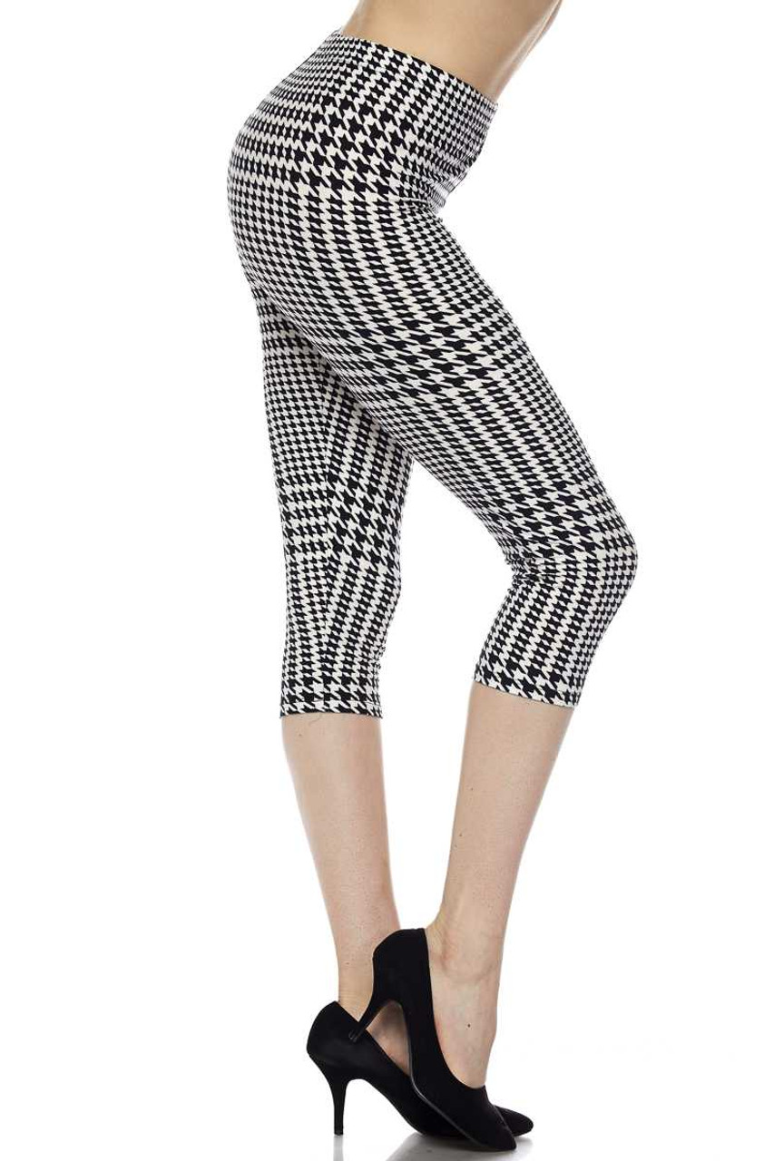 Right side leg image view of Buttery Soft Moving Houndstooth Plus Size Capris