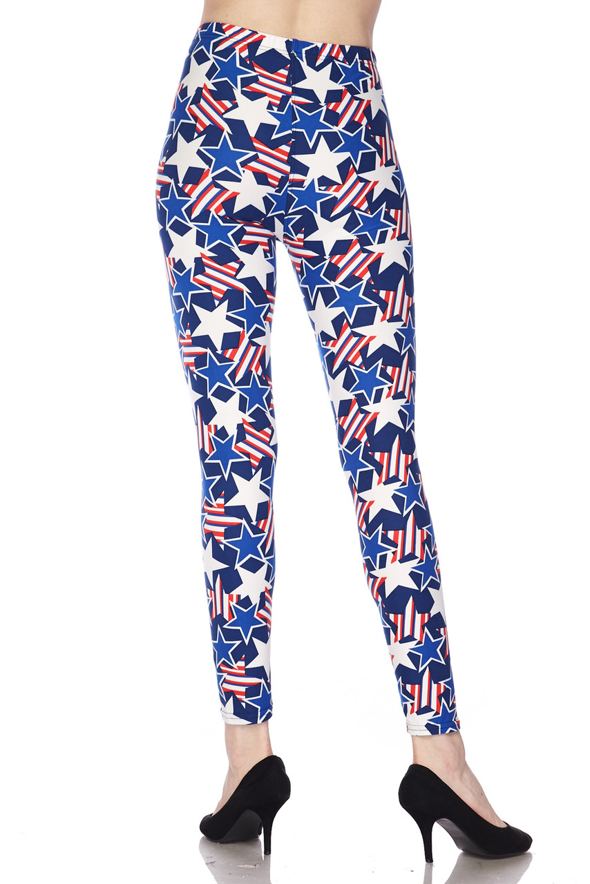 Back view image showing the flattering body hugging fit on our Buttery Soft American Stars Plus Size Leggings