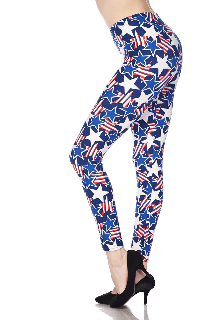 Left side view of our Buttery Soft American Stars Extra Plus Size Leggings - 3X-5X with a red, white, and blue star covered design.