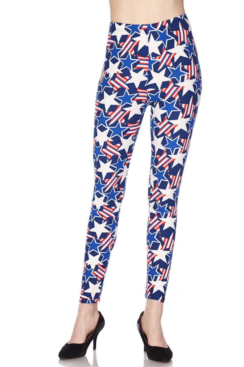Front view of our full length Buttery Soft American Stars Extra Plus Size Leggings with an elastic waist and a patriotic themed print ideal for Fourth of July outfits.