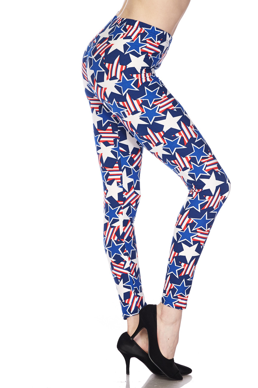 Right side view of Buttery Soft American Stars Extra Plus Size Leggings - 3X-5X