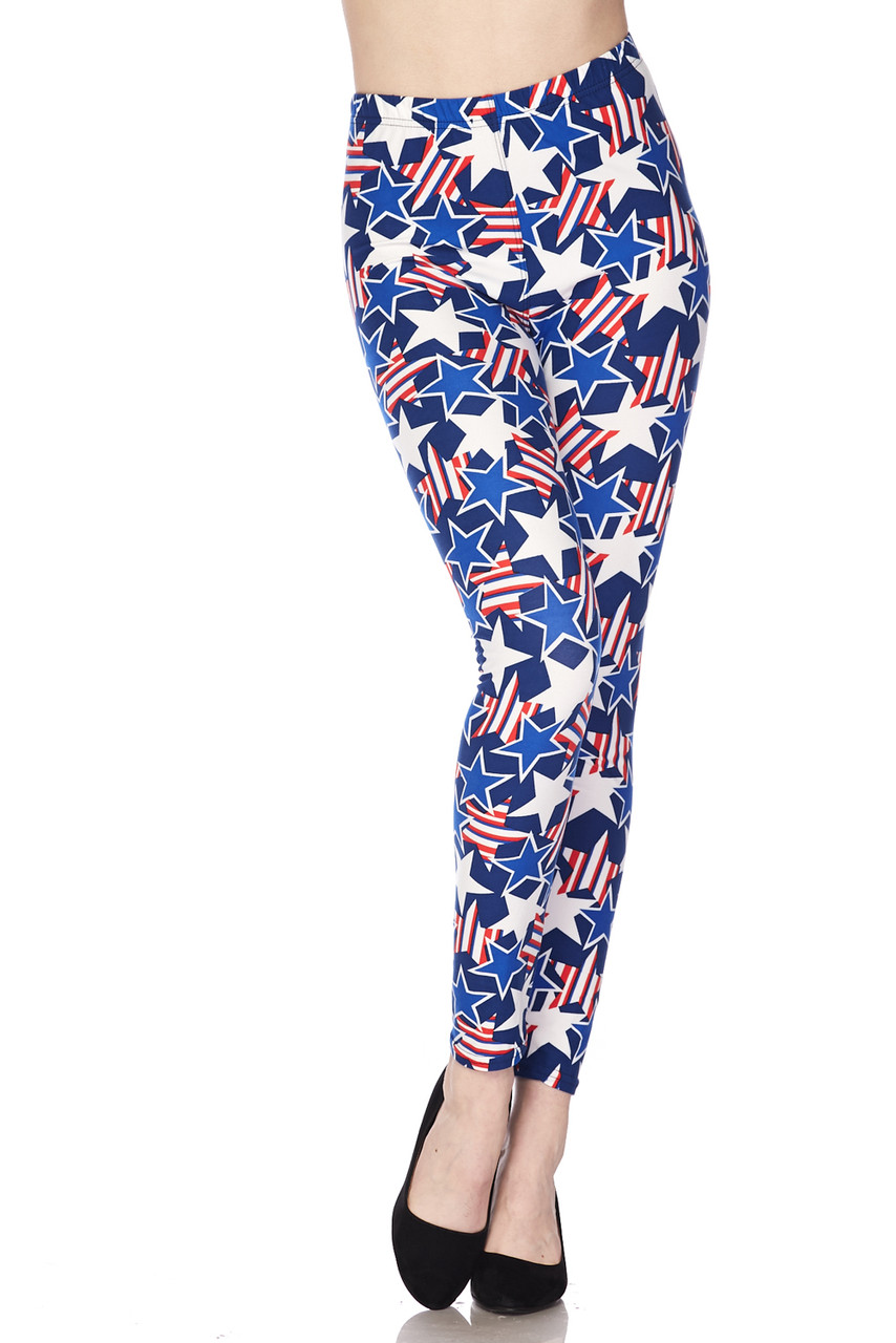 Front view image of Buttery Soft American Stars Extra Plus Size Leggings - 3X-5X