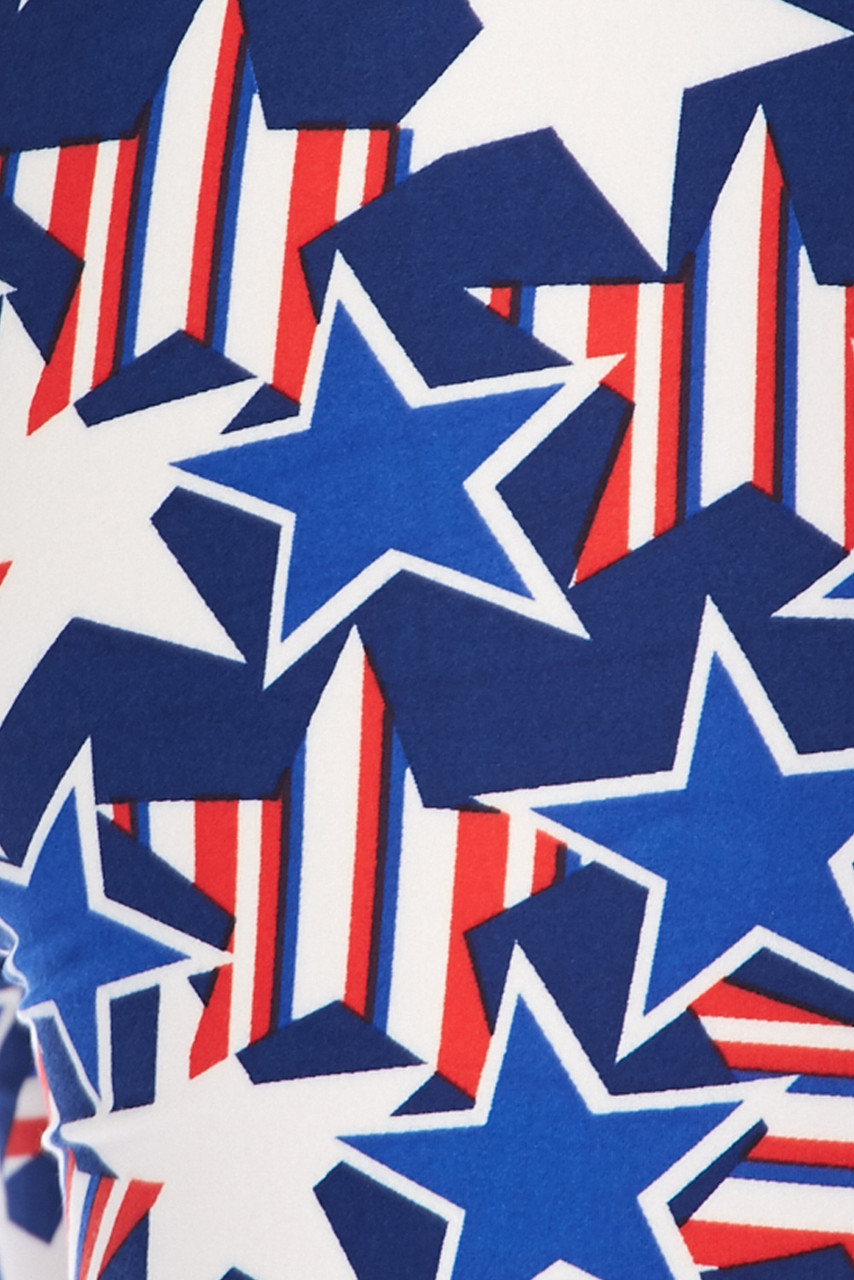 Close up fabric swatch of Buttery Soft American Stars Extra Plus Size Leggings - 3X-5X