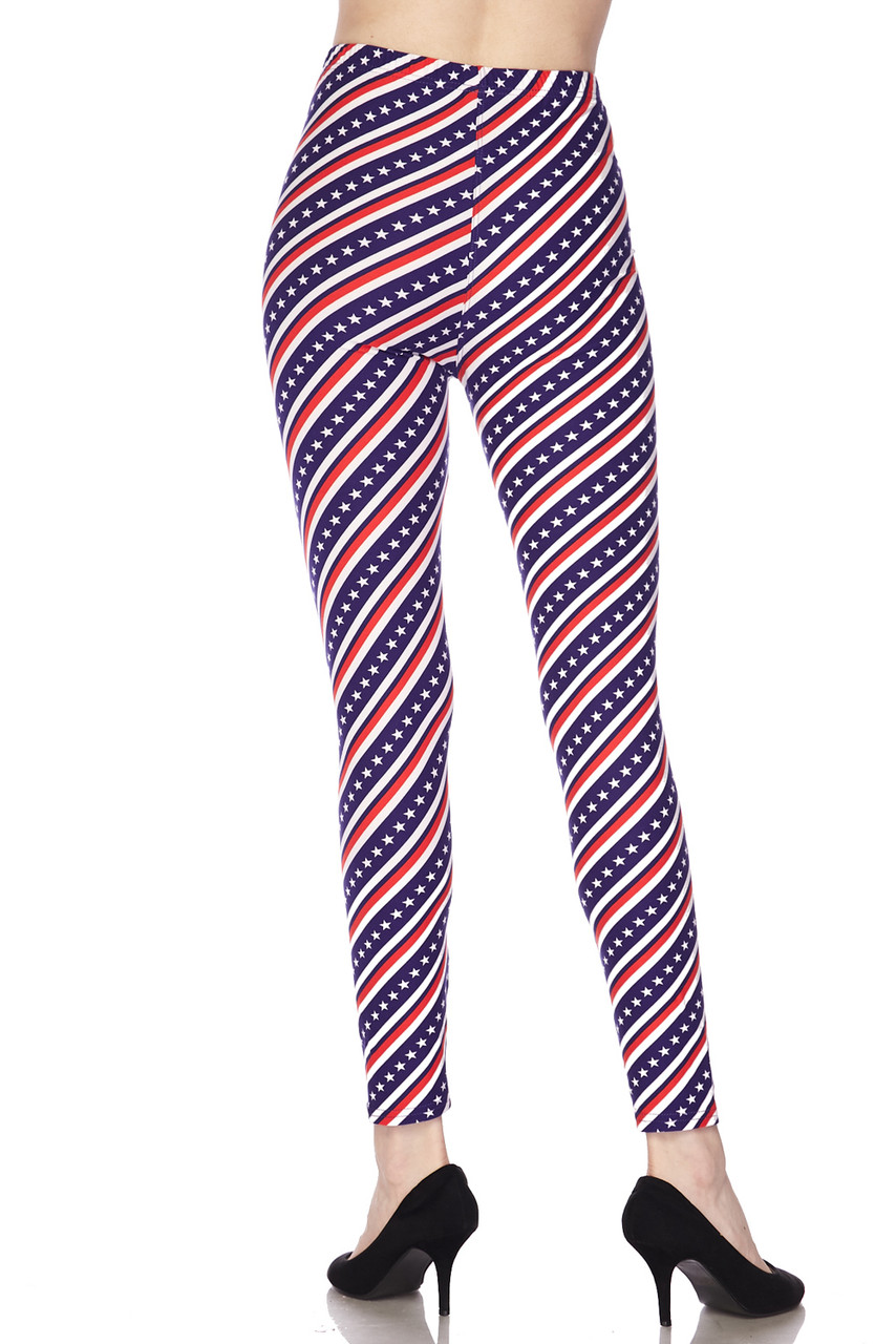 Rear view image showcasing the figure hugging fit of our Buttery Soft Spiral Stars and Stripes Leggings