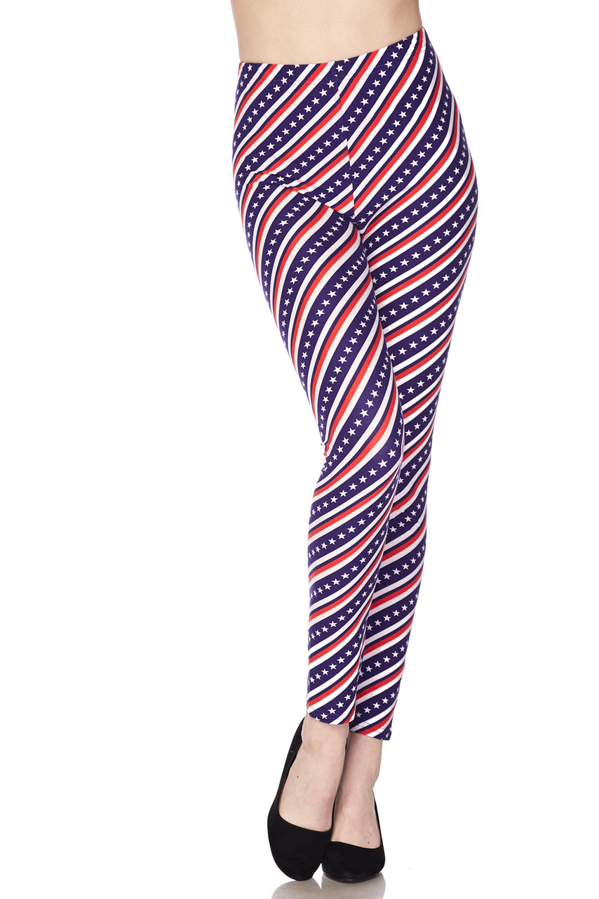 Front view of our Buttery Soft Spiral Stars and Stripes Leggings with a patriotic themed design that is ideal for Fourth of July or Memorial Day outfits.