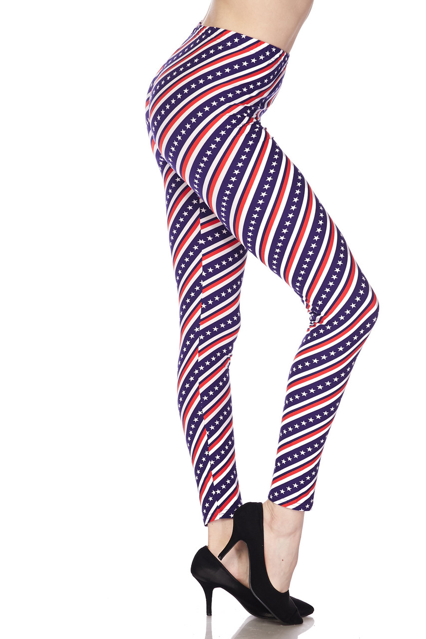 Right side view of Buttery Soft Spiral Stars and Stripes Leggings