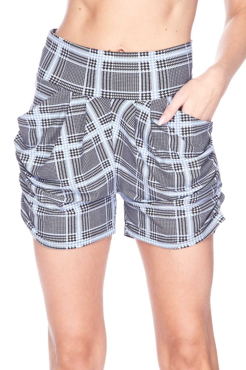 Front  view image of Buttery Soft Baby Blue Glen Plaid Harem Plus Size Shorts with a black and white design mixed with houndstooth and a pastel grid overlay.