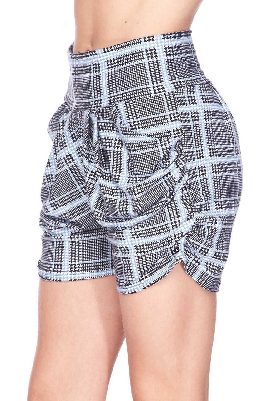 Left side view image of Buttery Soft Baby Blue Glen Plaid Harem Plus Size Shorts