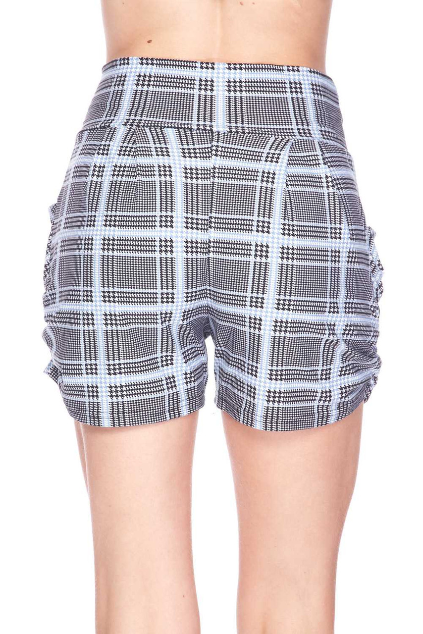 Back view image of Buttery Soft Baby Blue Glen Plaid Harem Plus Size Shorts with a more relaxed fit.