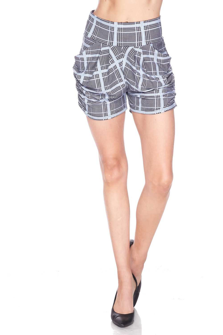 Half body image view of Buttery Soft Baby Blue Glen Plaid Harem Plus Size Shorts featuring a comfort fabric waist.