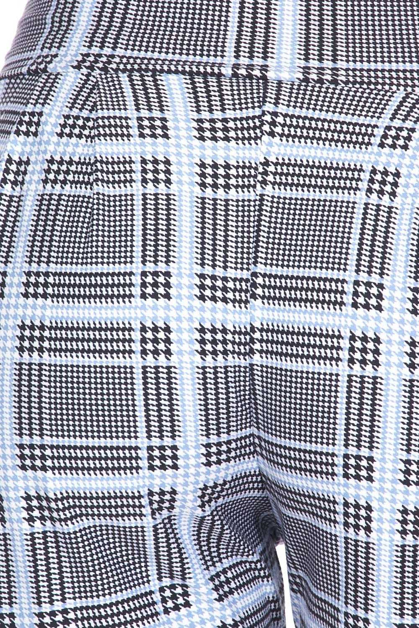 Close up swatch of Buttery Soft Baby Blue Glen Plaid Harem Plus Size Shorts