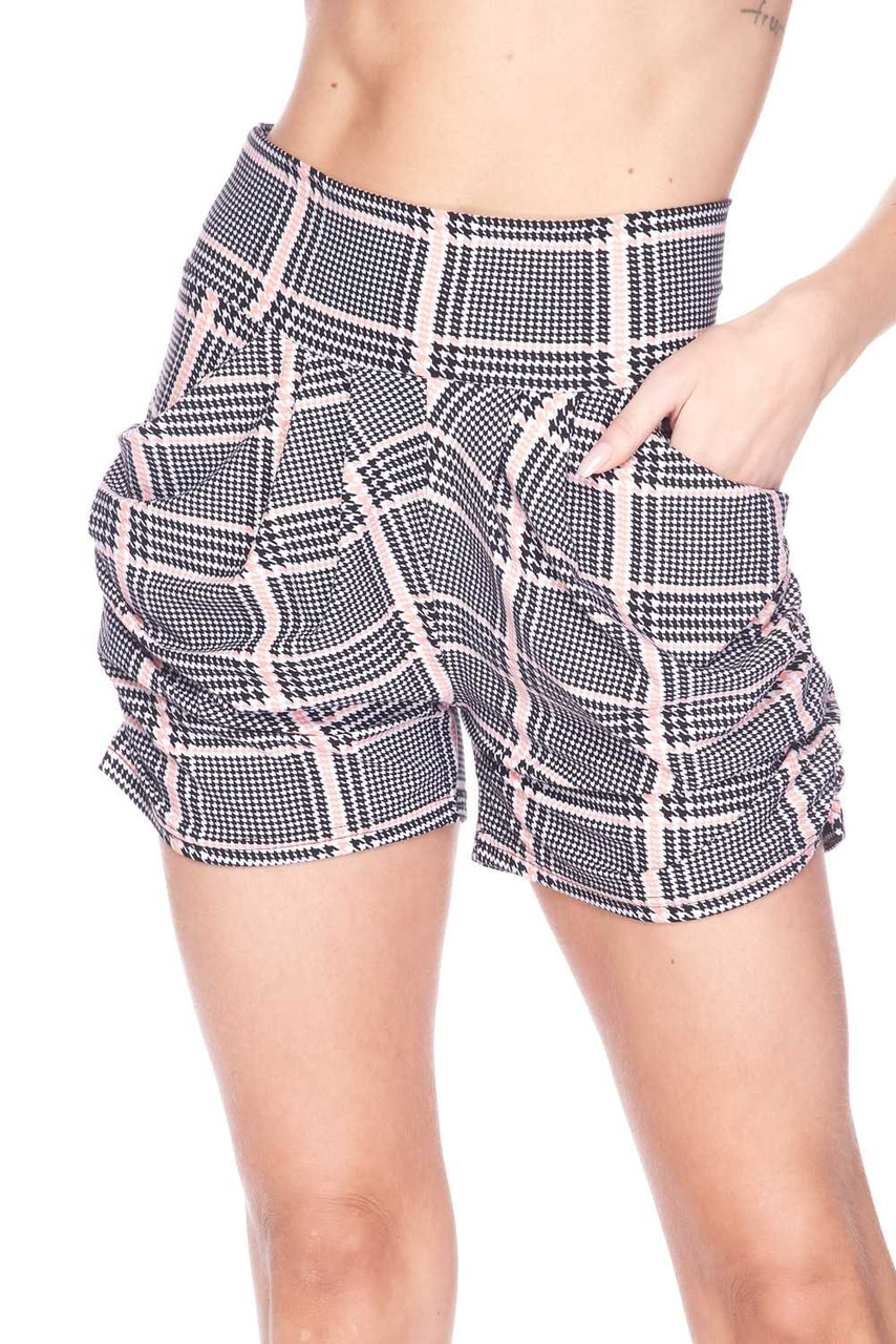 Front  view image of Buttery Soft Baby Pink Glen Plaid Harem Plus Size Shorts with a black and white design mixed with houndstooth and a pastel grid overlay.
