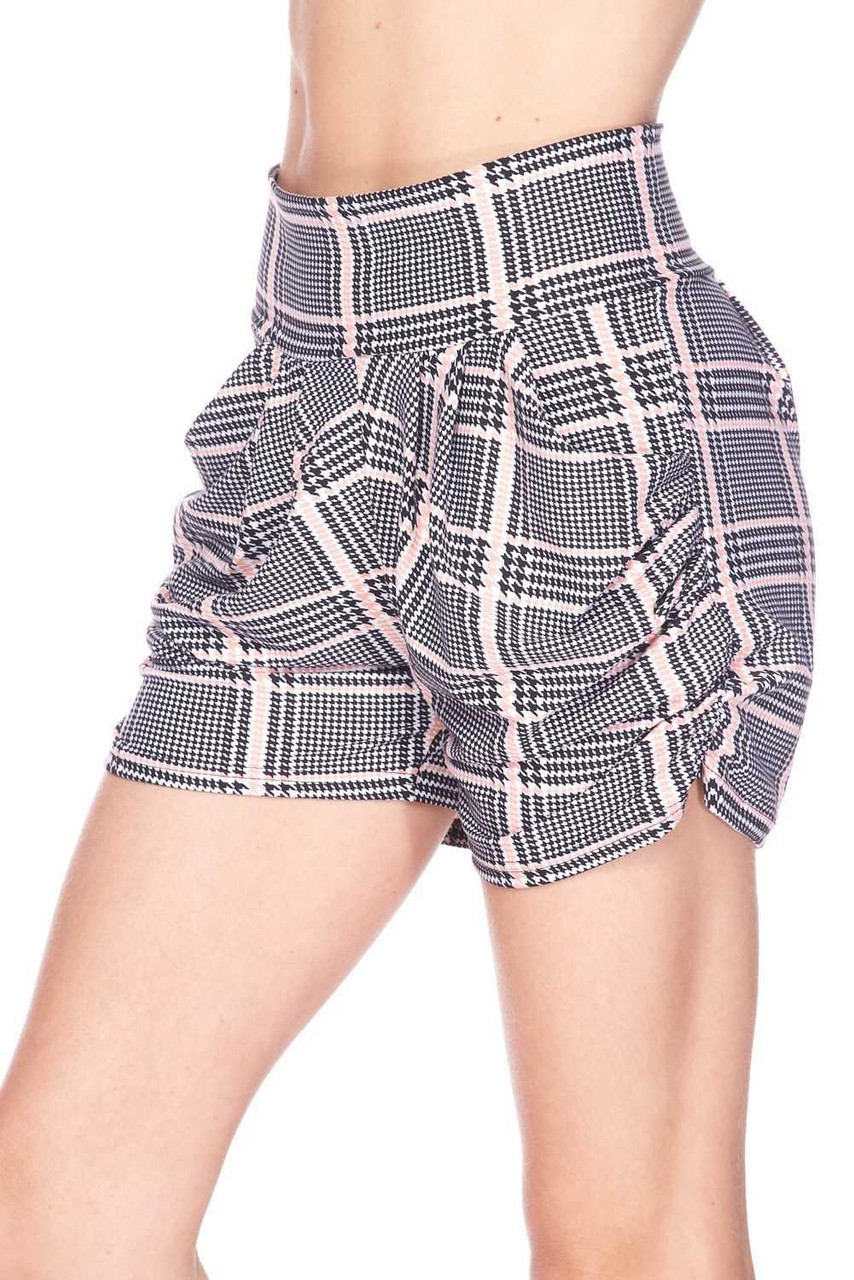 Left side view image of Buttery Soft Baby Pink Glen Plaid Harem Plus Size Shorts