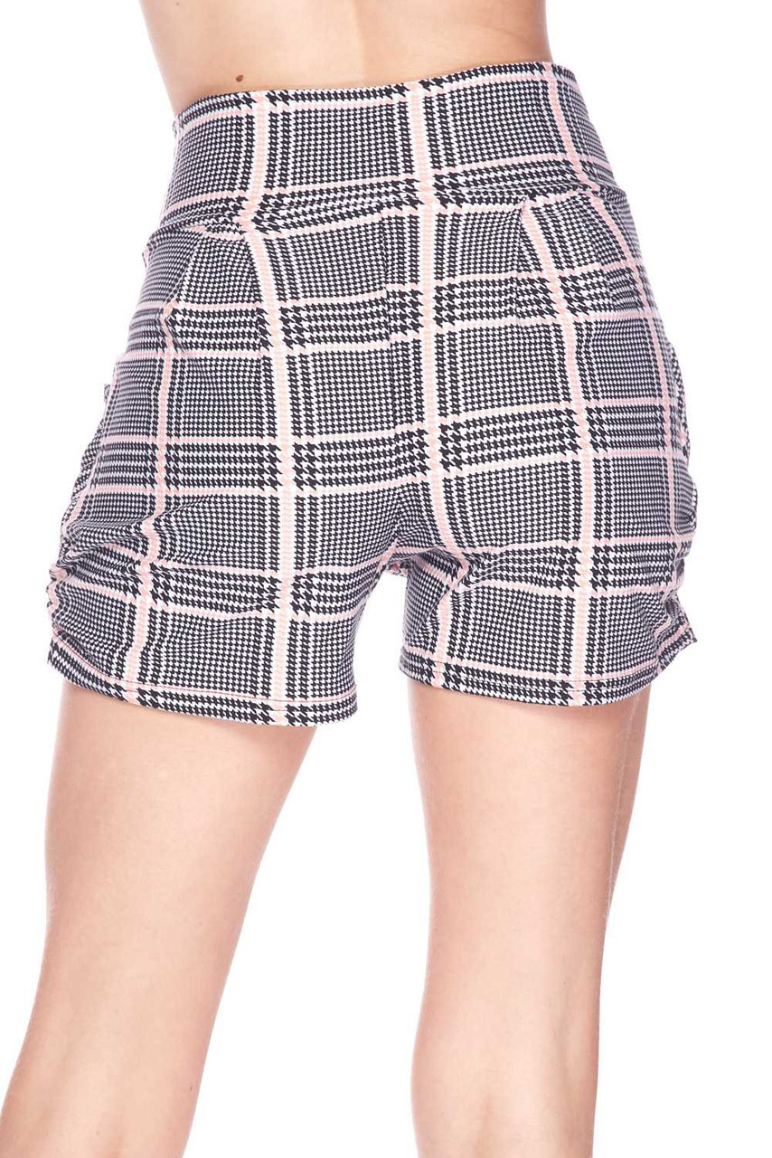 Back view image of Buttery Soft Baby Pink Glen Plaid Harem Plus Size Shorts with a more relaxed fit.