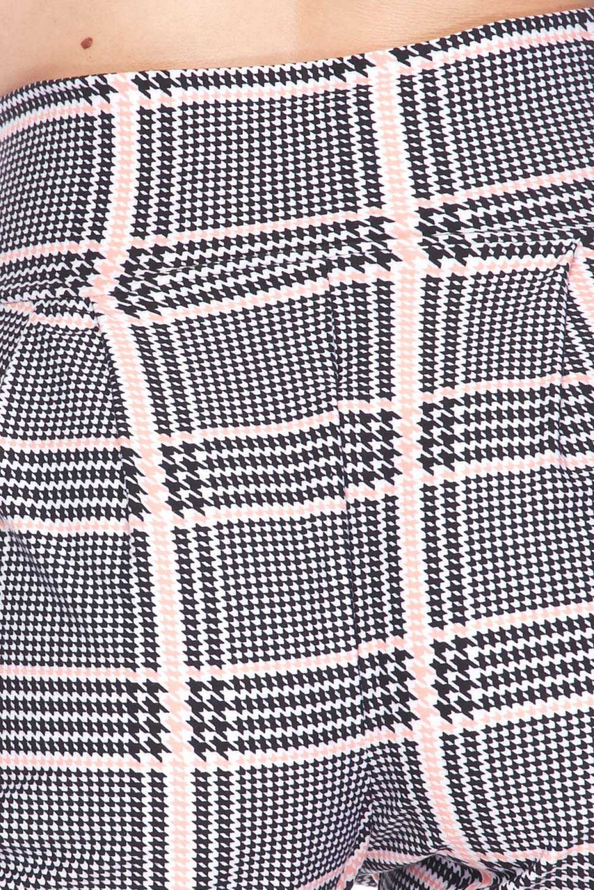 Close up swatch of Buttery Soft Baby Pink Glen Plaid Harem Plus Size Shorts