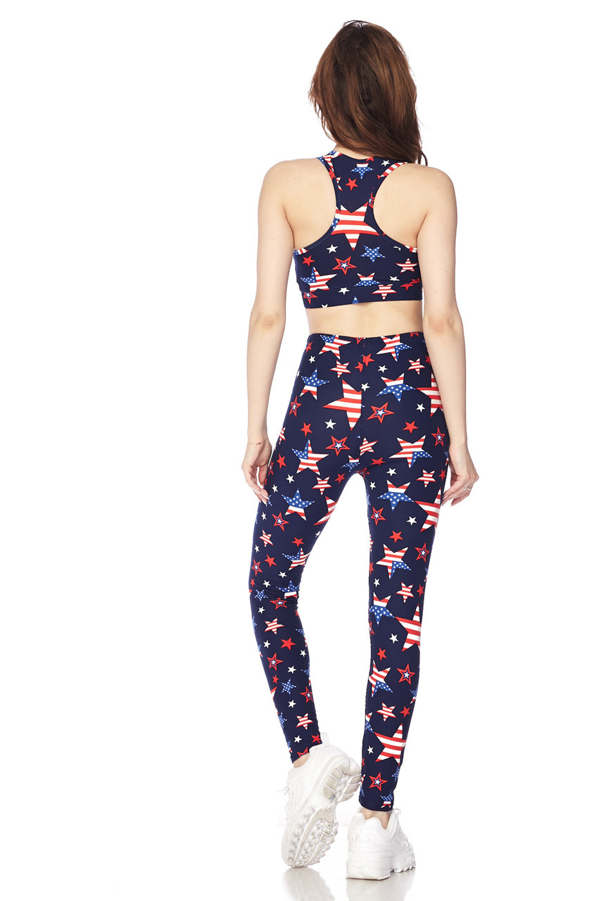 Back full body view of Buttery Soft USA Stars Bra Top