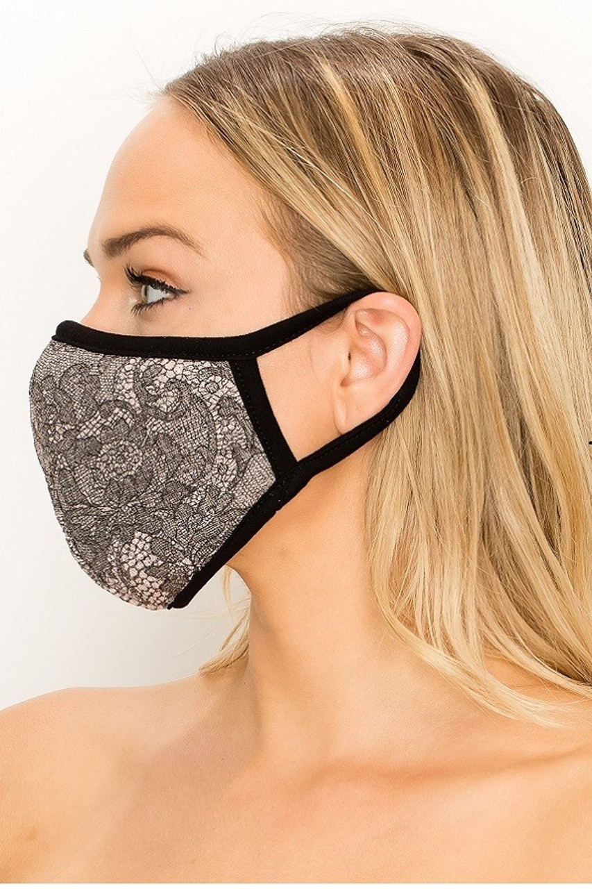 Left side of Women's Lace Knit Floral Face Mask - Made in the USA with black elastic ear supports.